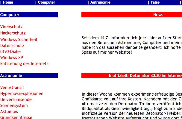 Meine Website im Jahr 2002